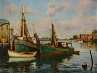 boats at dock by arthur e. ward