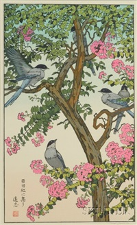 songbird on flowering tree by toshi yoshida