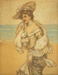 elegante frau am meeresstrand mit federschal und sommerhut by cesare felix georges dell' acqua