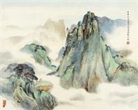 山水(青山白云) (landscape) by zhou yihong