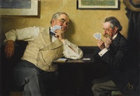 if your eyesight controls your great decisions... (two old gents playing cards) by norman rockwell