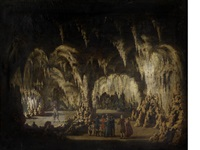 tourists visiting a limestone cave, most likely showing kent's cavern, torquay by william tomkins