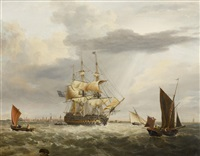 ship of the line off portsmouth and a ship of the line off whitby (pair) by george webster