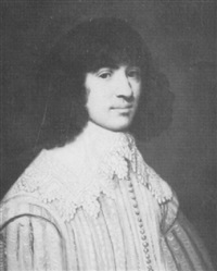 portrait of a gentleman, bust length, wearing a pink and  white costume with a white lace collar