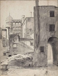 view of the palazzo contarini del bovolo, venice by thomas wijck