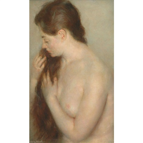 nude brushing her hair by john koch
