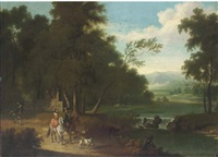 an extensive wooded river landscape with a hawking party on a track by jacobus van der hagen