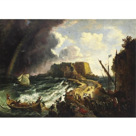 castello dellovo bay of naples by george loring brown