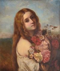 jeune fille aux fleurs by jules fillyon