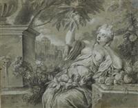 une femme assise dans un jardin, entourée des fleurs, cueillant un fruit by jean-baptiste santerre