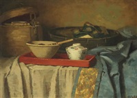 a still life with bowls on a draped table by marie van regteren altena
