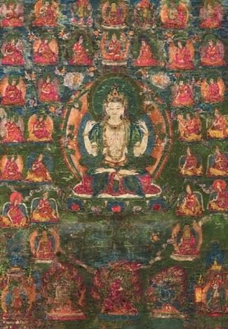 a thangka of shadakshari lokeshvara tibet late 18th19th century