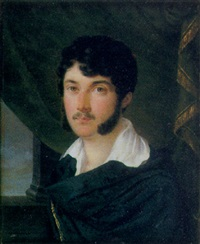 a fine portrait of count vittorio alfieri in blue cloak with gold tassel fastening and white shirt swagged green curtain by andré leon laure