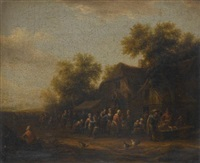 a fish market in a village square; a poultry market before a village inn (pair) by barend gael