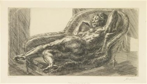 nude on chaise lounge by window by john french sloan