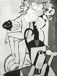 fußbadender akt und vase mit blumenstrauß by wilhelm lachnit
