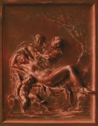 ein brunaille trompe l'oeil. bronzerelief mit zwei satyrn, die die schlafende venus beobachten, amor im vordergrund by caspar franz sambach