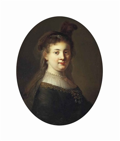 portrait of a lady possibly saskia van uylenburgh 1612 1642 half length in a bejewelled dress and headdress in a painted oval by rembrandt van rijn