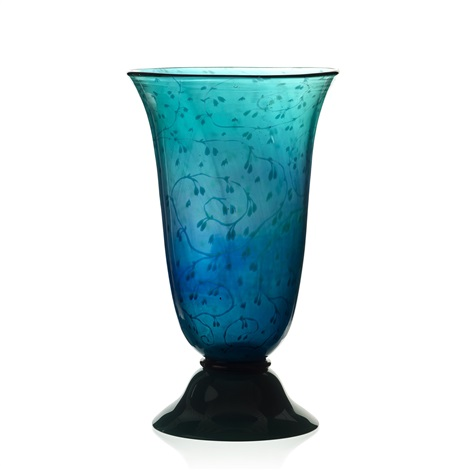 An Emerald Green Graal Vase Orrefors Sweden 1917 By Edward Hald