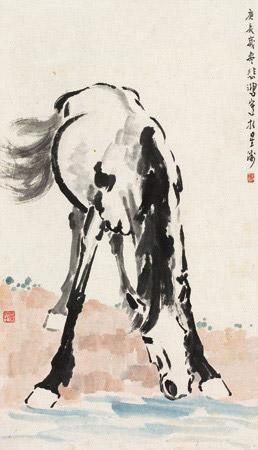 春郊饮骏 horse by xu beihong