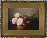 three pink roses, two pink rosebuds, and two red roses beside a glass bowl by anna eliza hardy