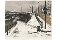 snow at canal by takanori ogisu