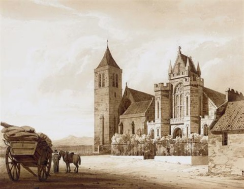 a figure on horseback passing the house of lord gray, forfarshire, scotland (+ a figure with a horse and cart by a church in glasgow; 2 works) by thomas allom