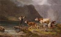 hirtenjunge mit seiner herde am seeufer by ludwig sellmayr
