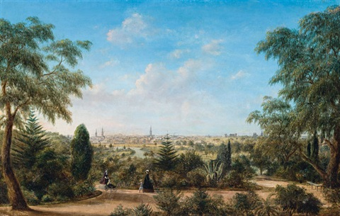 view of melbourne looking across the yarra from the botanical gardens by henry c gritten