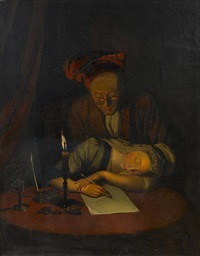 a young woman asleep at her desk, an elderly man looking on by henry robert morland