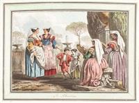 konvolut von 12 handkolorierten umrissradierungen (collab. w/abraham louis rodolphe ducros) (12 works) by françois jean (jean françois) sablet