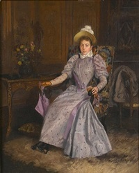 in a mauve dress by basile lemeunier
