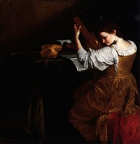 portrait of a lady playing the lute, seated at a table scattered with insturments and musical scores by orazio gentileschi