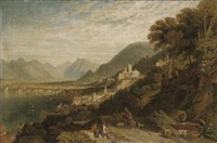 view of the bay of naples, with a drover and figures by william linton