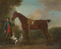a groom and horse in a landscape with two hounds by john wootton