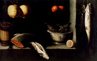 lemons, oranges, a barrel of olives, salmon and a bowl of fish in a niche by alessandro de loarte
