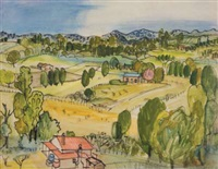 rolling landscape with farm buildings by juliet peter