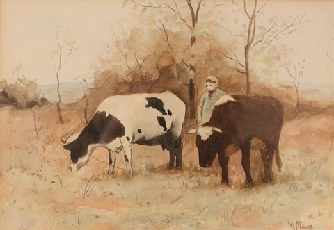 farmer and two cows by anton mauve