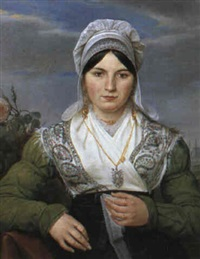 portrait of a lady knitting lace by jean antoine verschaeren