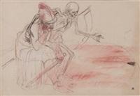 le guerrier et la mort (+ mouvement de danse, tête d'homme barbu au chapeau et profil d'homme, verso) by armand rassenfosse