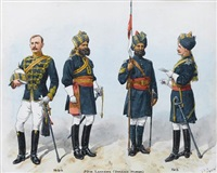 29th lancers, deccan horse (+ 43rd erinpura regiment, regiments of the british indian army, smllr; 2 works) by richard simkin