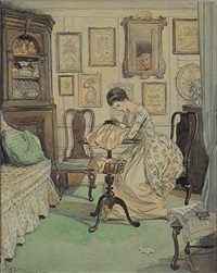 woman embroidering, people reflected in mirror (illus.) by hugh thomson