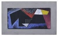geometrische komposition mit gelber trapezform by erhard hippold