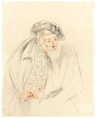 study for the bearded doctor in les comédiens italiens by jean antoine watteau