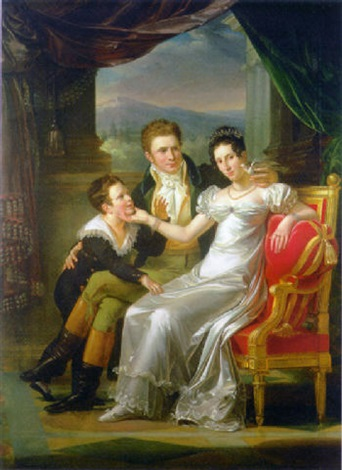 portrait of a family in an interior a landscape beyond by guillaume françois colson