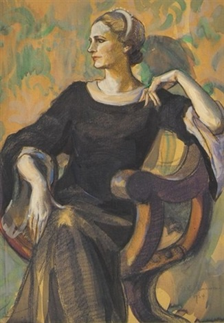 seated woman in black gown looking towards left by edith emerson