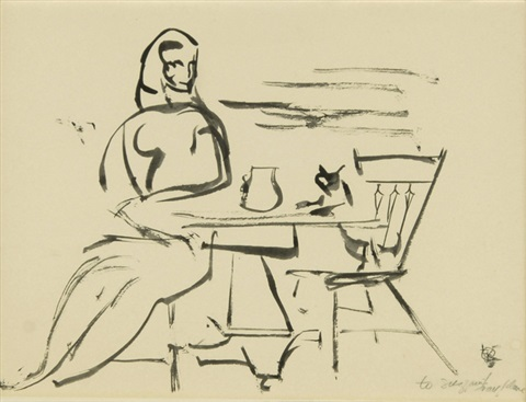 woman seated at a table in the atelier by franz kline
