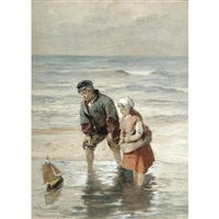 fisher children at zandvoort, holland by robert anderson