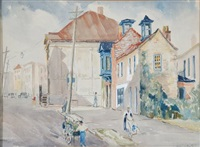 charleston street scene by alfred heber hutty