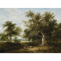 stags in a woodland landscape by james stark